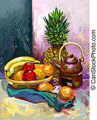 Still life with a banana, plum, pineapple and tea pot