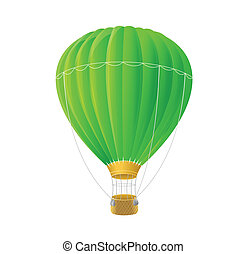 Vector green air ballon isolated on white