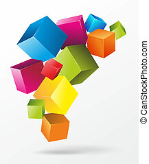 cubes - abstract illustration of floating and colorful cubes