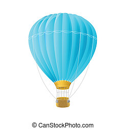 Vector blue air ballon isolated on white