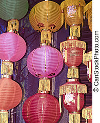Lanterns hanged for selling before Diwali festival,...