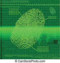 Finger print green - Green fingerprint background eps10