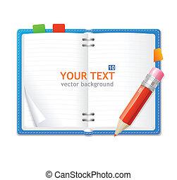 Vector open personal organizer book