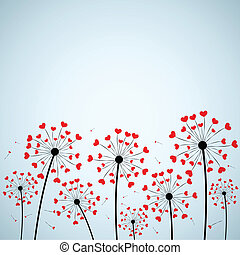 Dandelions - Background with dandelion and hearts. eps10