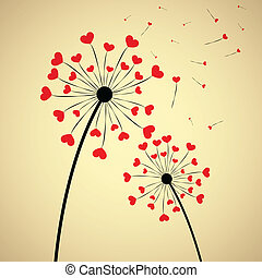 Dandelion with hearts - Background with dandelion and...