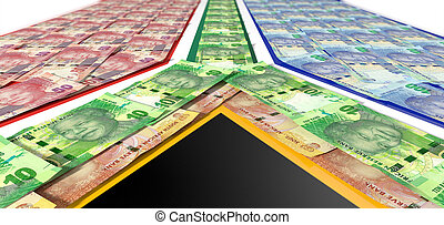 South African Rand Notes Flag - A collection of south...