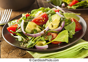 Organic Green Avacado and Tomato Salad with Onions