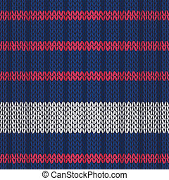 Seamless knitted pattern with red white stripes