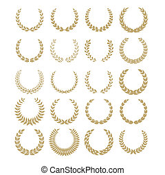 laurel wreaths - Black laurel wreaths isolated on white...