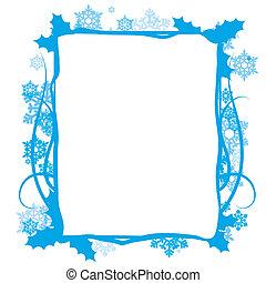 Winter floral frame, vector