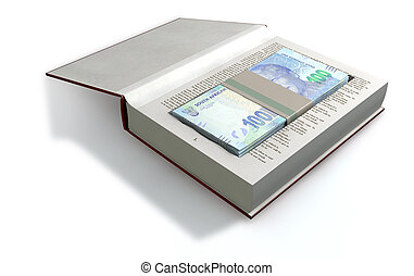 Concealed Rand In A Book Front - A red hardback book with a...