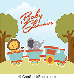 baby shower design over landscape background vector...