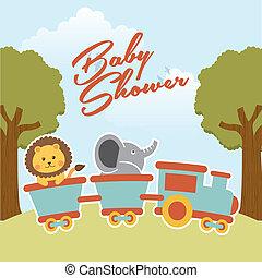baby shower design over landscape background vector...