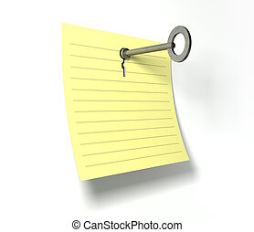 Keynote Key In A Note - A yellow notepad page peeling...