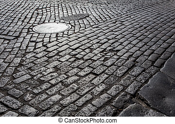 Cobblestone Street - Old cobblestone street from New York...