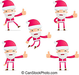 Santa in various poses for use in advertising,...