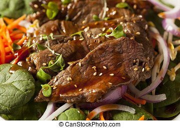 Asian Sliced Beef Salad with Spinach and Carrots