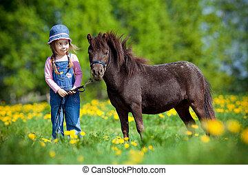 niño, pequeño, caballo, campo