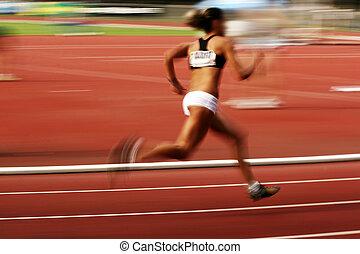 Athlete running, motion blur effect