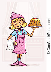 little girl cooking sweet cake at the kitchen - eps10 vector...