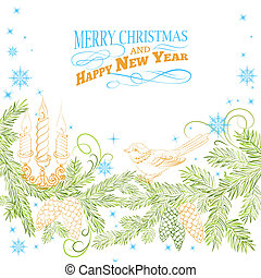 Christmas background. - Christmas background with bird and...