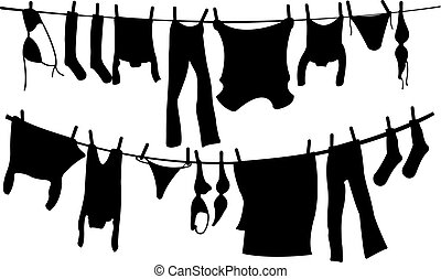 clothes - illustration of drying clothes