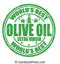 Olive oil stamp - Grunge rubber stamp with the word Olive...