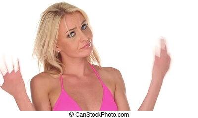 woman wearing pink bikini