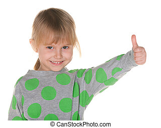 Smiling little girl holds thumb up - A closeup portrait of a...