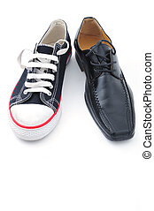 Pollivalent improvisation - A sneaker and a business shoe on...