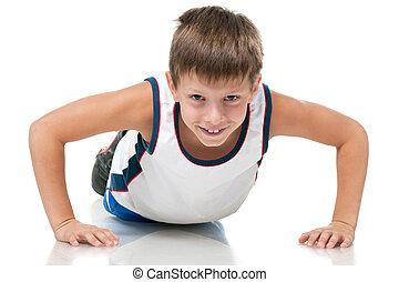 Training athletic boy