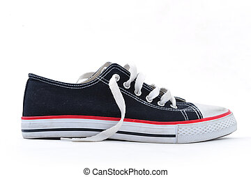 Sneaker - A single trainer shoe on white background, side...