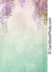 Grungy background with floral border - Old grungy background...