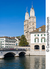 Grossmuenster in Zurich in summer - View on Grossmuenster in...