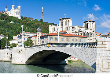 Lyon and Saone river in a summer day - Clasical view on Lyon...