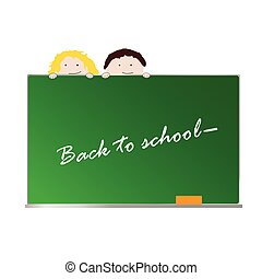 back to school with children color art vector