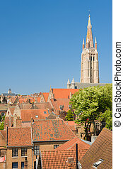 Sunny summer day in Bruges - The Our Lady Church in Bruges...