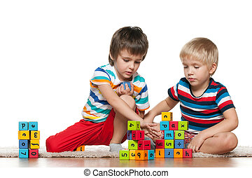 Two boys with blocks