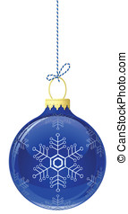 Blue glass christmas ball. Vector illustration
