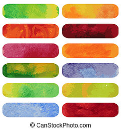 Set of colorful watercolour banners