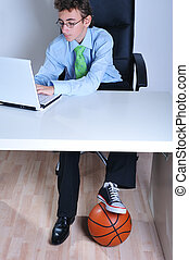 Business and sport - Businessman booted with a business shoe...