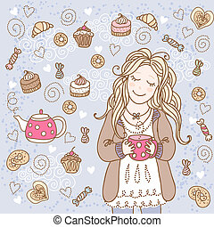 Girl with a cup of tea and many delicious sweets