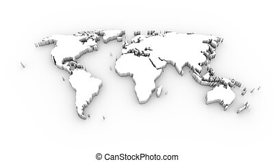 World map 3D white clipping path - High resolution World map...