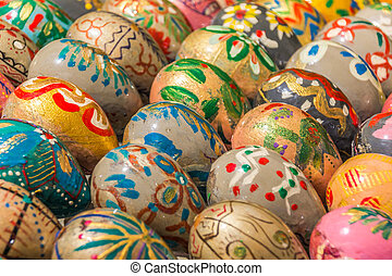Easter eggs in many different colors of the Kiev Pechersk...