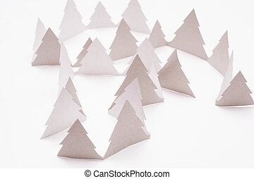 Christmas trees on white - Christmas white paper trees on...