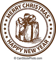 Christmas stamp - Christmas and New Year stamp with the gift...