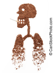 Smoking kills - human figure formed by snuff