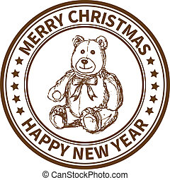 Christmas stamp - Christmas and New Year stamp with the toy...