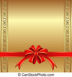 golden background with a red bow for gifts