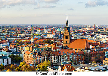 Marktkirche and Hannover City - Aerial view of the...